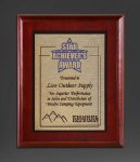 Cherry Finish Panel; Gold Tone Plate Employee Awards