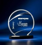 Bent Wire Circle on Black Acrylic Base Employee Awards