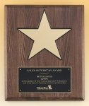 Walnut Stained Piano Finish Plaque with 8 Gold Star Patriotic Awards