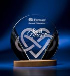 Black and Clear Circular Award on Wooden Base Religious Awards